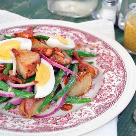 Salade de Pommes de Terre, Haricots Verts et Bacon