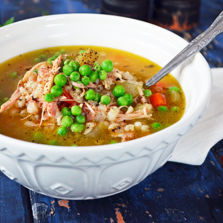 Soupe à la Dinde, Orge et Légumes