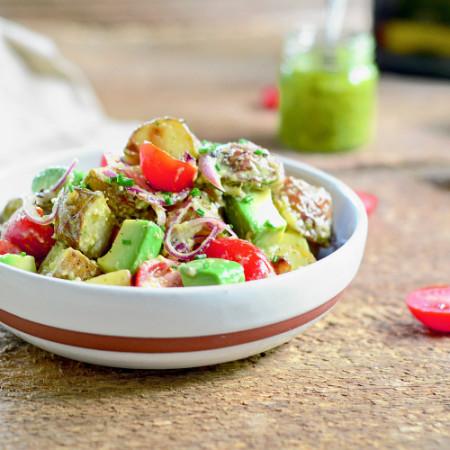 Salade de Pommes de Terre Grelot, Avocats et Pesto de Basilic